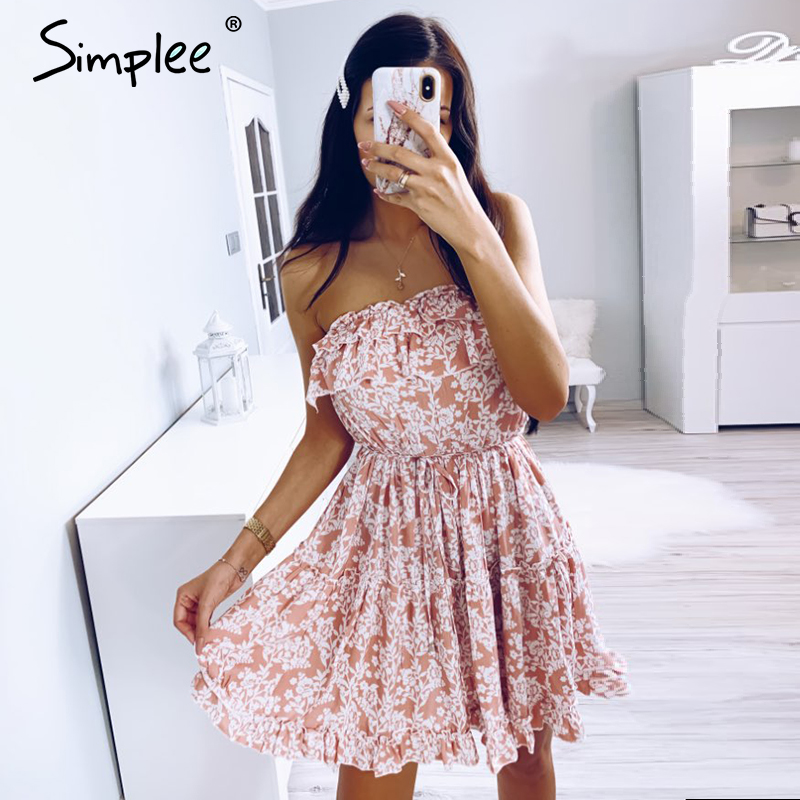 Simplee Sleeveless Floral Print Tube Dress Women Sexy High Wasit Ruffled Mini Dress Casual Lady Chic Beach Holiday Summe Dress