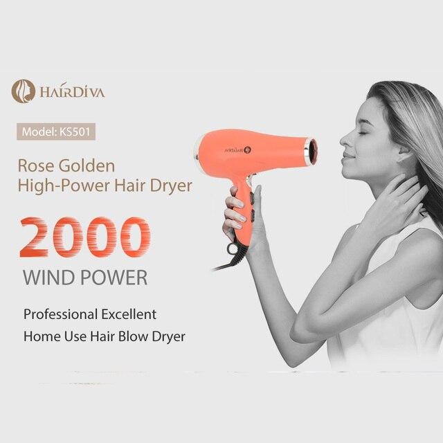 HairDiva rosa dorada Secador de pelo profesional de 2000w DC Motor , iónico secador de cabelo volumeizador , hair dryer Los iones negativos alisan y nutren el cabello aire frio y caliente