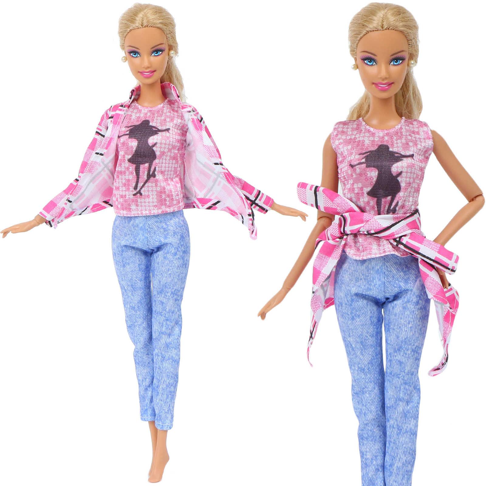 Одежда ручной работы Обычная Повседневная одежда розовая рубашка милая блузка спортивные штаны платье юбка Одежда для куклы Барби аксессуары детская игрушка