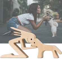 Wooden Dog Easter Decoration Figurine Craft Wood Home Decor Family Puppy Ornaments Decoration Accessories Gift For Dog Lovers