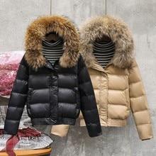 С натуральным мехом зимняя куртка для Для женщин парки с капюшоном теплый воротник из натурального меха Короткое пальто, пуховик с утиным пухом, зимняя пальто Женская куртка
