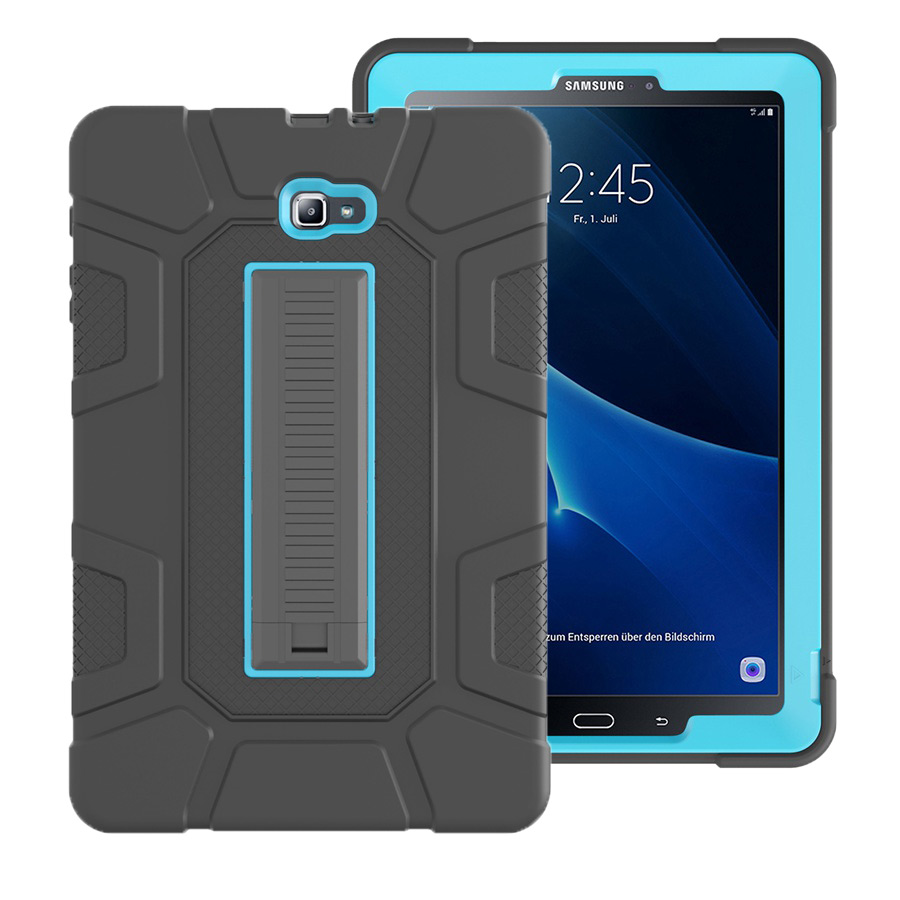 New Armor Case For Samsung Galaxy Tab A A6 10.1 2016 T580 <font><b>T585</b></font> SM-T580 SM-T585C Silicone Rubber Shockproof Tablet Case+Film+Pen image