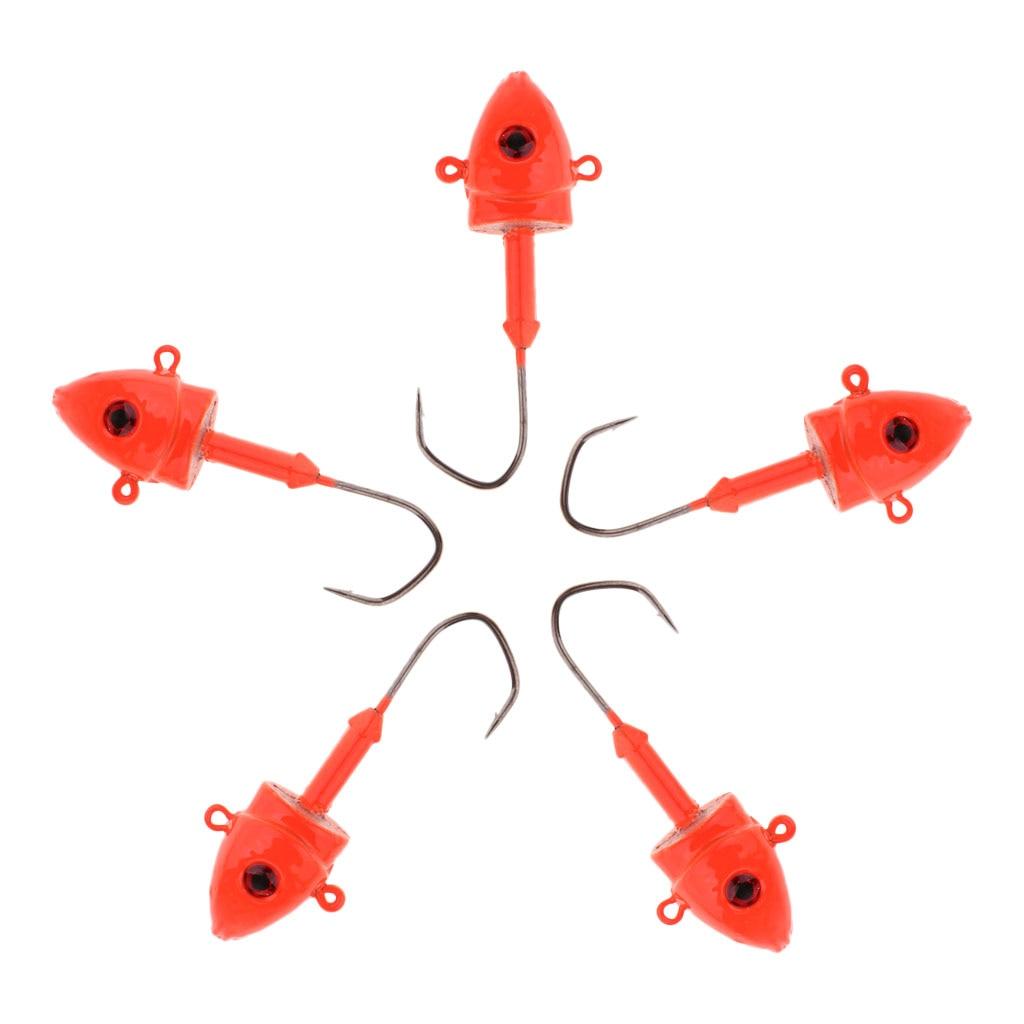 5pcs 3D Eye   Lead Head Jig Swimbait Jig Heads Jigging Lures 29g Orange