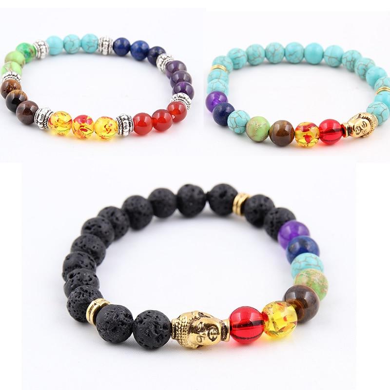 Natural Volcanic Stone Bracelets Charm Women Chakra Balance Beads Men Black Lava Turquoises Strand Bangle Fashion Buddha Jewelry