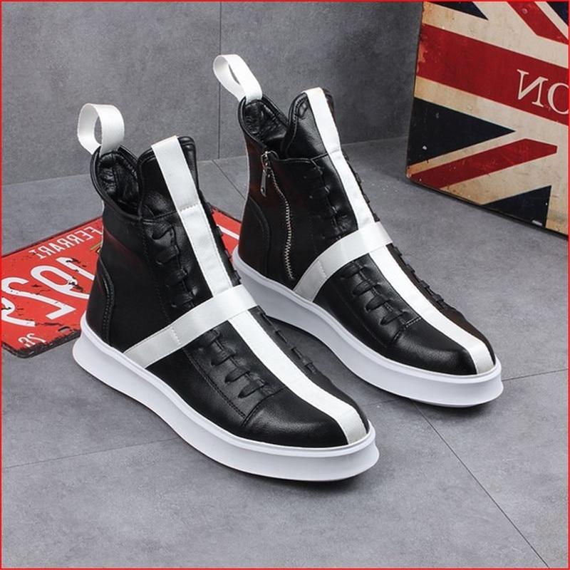 Высокое качество; коллекция 2019 года; мужская кожаная повседневная обувь; обувь на толстой подошве; мужские кроссовки в стиле хип хоп; обувь н