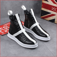 High Quality 2019 Men's Leather Casual Shoes Thick Bottom Shoes Men Sneakers Hip hop Street Dance Star Black White Flat Shoes