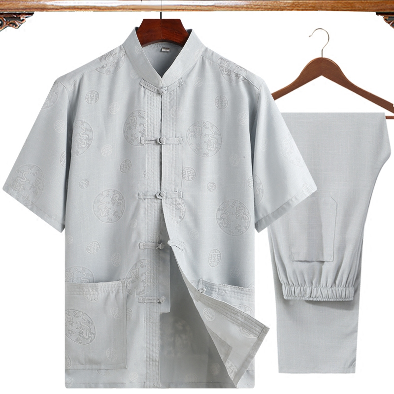 Brand New (Short Sleeve Shirt+Pant) 2Pcs/Set Plus Size 4XL Men Kung Fu Tai Chi Suit L Gray ClassicWu Shu Clothing For Father