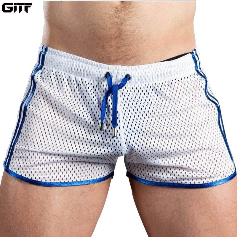 GITF New Gym Mens Sport Running Shorts Quick Dry Grid Workout Short Pants GYM Wear Men Soccer Tennis Training Beach Swim Shorts