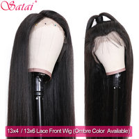 Satai Straight 13x4/13x6 Lace Front Human Hair Wigs Pre Plucked Remy Natural Color Lace Front Wig Brazilian Ombre Human Hair Wig