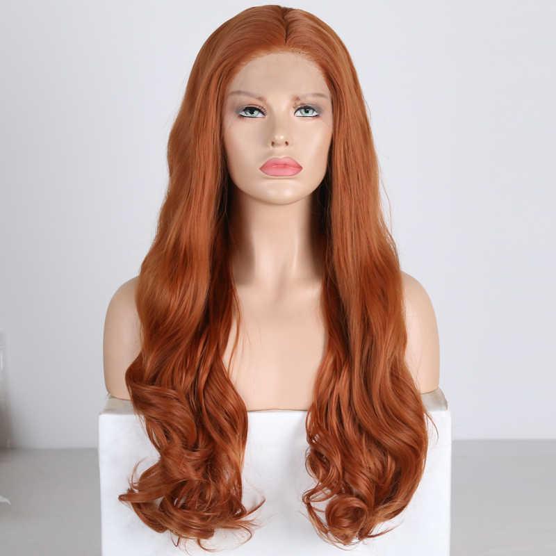 Pelucas largo ondulado carisma para mujer, peluca sintética de parte libre con malla frontal, pelo de fibra de alta temperatura, pelucas de encaje naranja y rojo