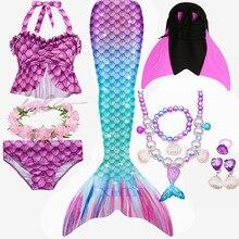 Детский купальный костюм с хвостом русалки для девочек, купальный костюм с плавниками, бикини, платье для девочек с раскладным моноластом для плавания, Лидер продаж 2020
