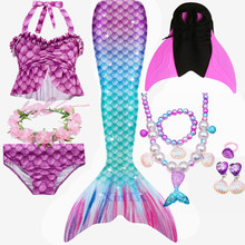 2020 HOT Kids Girls Mermaid Tails with Fin Swimsuit Bikini Bathing Suit Dress for Girls With Flipper Monofin For Swim