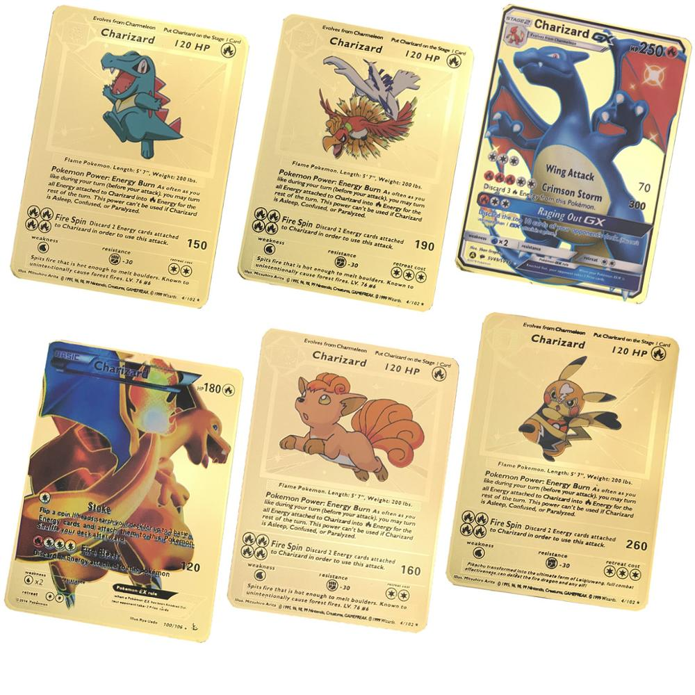 Best Selling Gold Metal Color Battle Carte Game    Cards Energy Charizard Collection Card Toys In Stocks