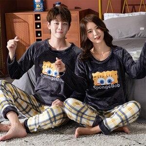 Флисовая парная Пижама, зимняя теплая Пижама, женские и мужские пижамы, пижамы для женщин, пижама, Женский пижамный комплект, сексуальное ни...