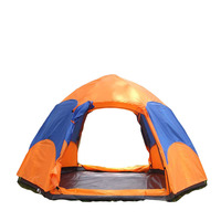 Fully automatic folding tent 3-4people double-decked hexagonal camping tents pole hexagonal field camp outdoor ultralight