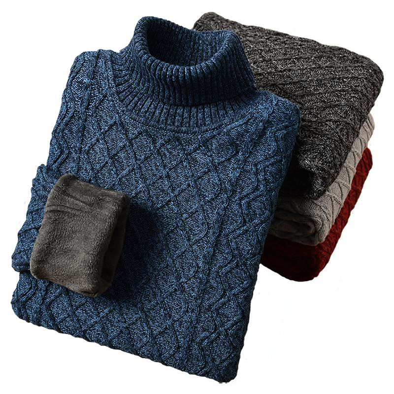 ICPANS Warm Winter Men Turtleneck Cotton Wool Liner Thicken Snow High Neck Mens Sweater Pullovers 2019 Plus Size 5XL 6XL 7XL