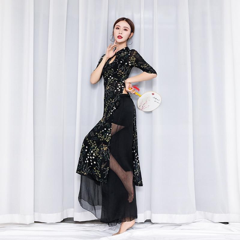 Belly Dance Wear Chinese Cheongsam Print Costumes Female Oriental Dance Performance Uniforms Classical Dance Suit Wide Leg Pants
