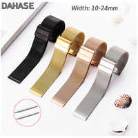 Double Buckle 10 12 13 14 16 17 18 19mm 20mm 21mm 22mm 24mm Stainless Steel Milanese Loop Watch Band 06 Wire Meshed Strap
