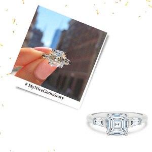 Image 4 - NiceGems 14K białe złoto Asscher cut Moissanite trylogii pierścionek zaręczynowy centrum 7x7mm 4 podwójne prong ze zwężającymi się bagietki pierścień