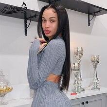 Ms flegance женские длинные черные прямые синтетические парики