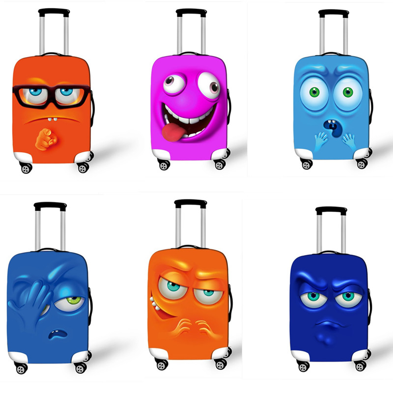 Cartoon Face Luggage Protective Covers Cute Elastic Suitcase Cover For Travel 18-32 Inch Dust Protection Trolley Luggage Cover