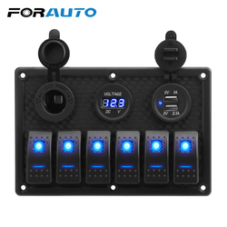 5/6 Gang Rocker Switch Panel With Fuse 4.2A Dual USB Slot Socket Digital Voltage Display for Marine Car Truck Waterproof