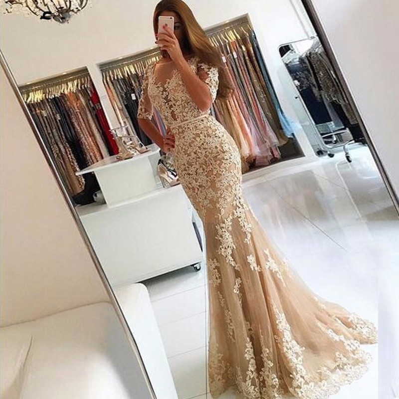 Champagne Long Mermaid   Prom     Dresses   2019 Lace Applique Half Sleeves Backless Formal Evening Gowns Sheer Scoop Lace Party Gown