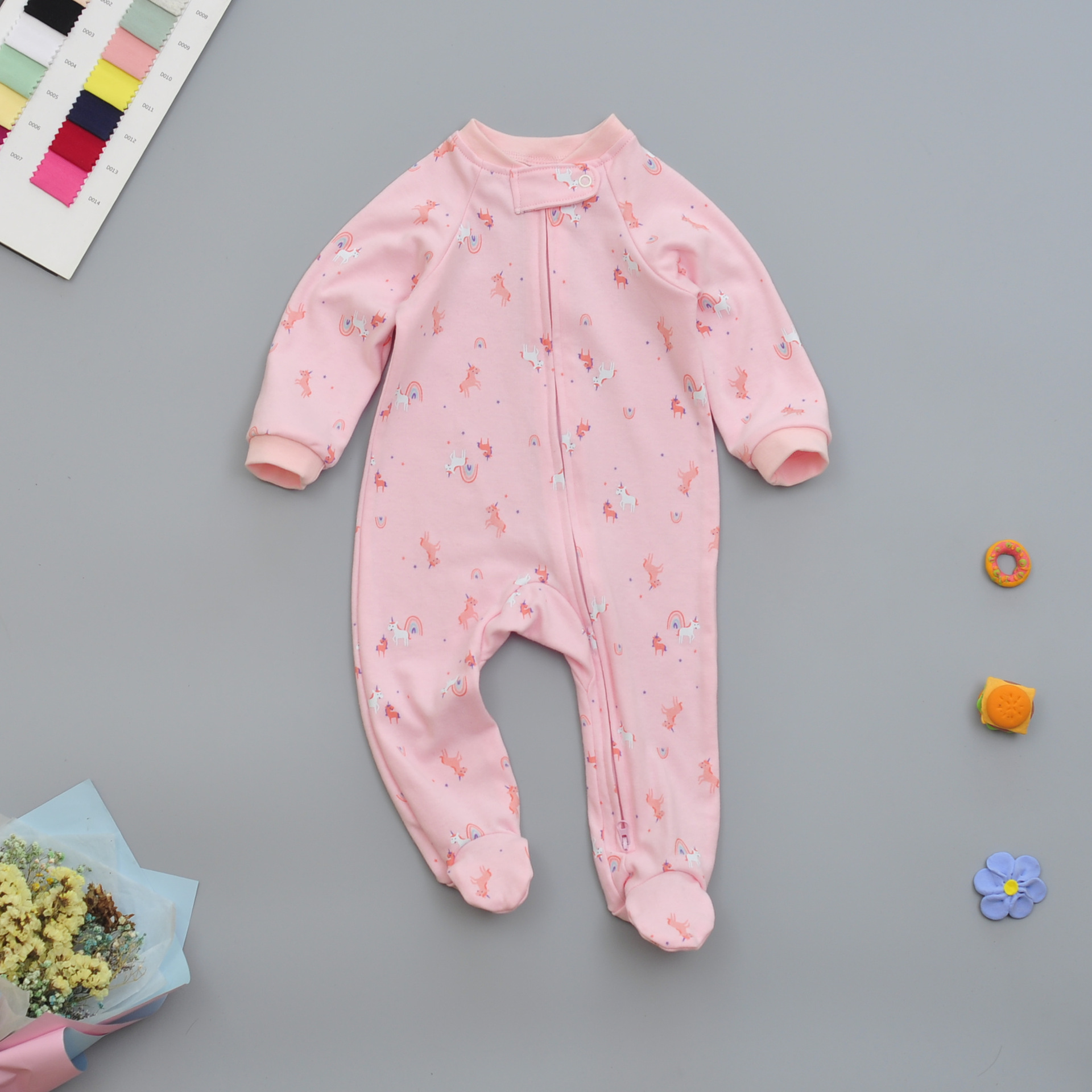 INS Hot Selling Pure Cotton Foot-closed Onesie Men And Women Baby Long Sleeve Spring And Autumn Two-Way Zipper Romper Newborns C