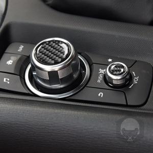 Image 3 - פחמן סיבי מולטימדיה כפתורי כיסוי לקצץ מדבקת מרכז קונסולת עבור מאזדה MX 5 מיאטה Roadster 2016 + MX5 ND אביזרי רכב