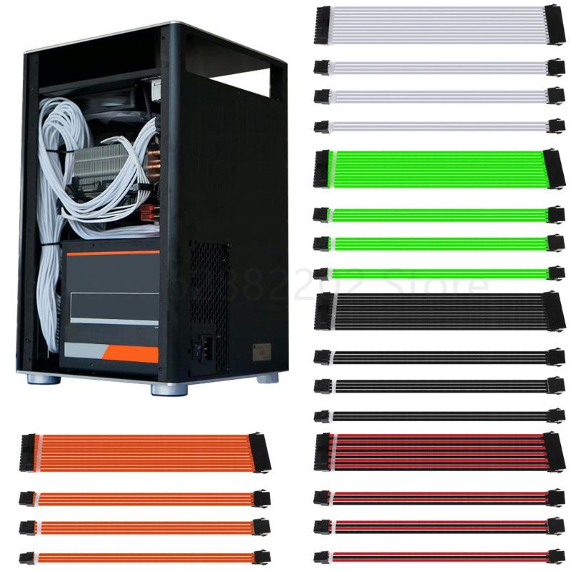 30/40cm A-TX Basic Extension Cable PC GPU CPU Power Supply Wire Computer Connectors 24-PIN 8-PIN 6 PIN 4+4 PIN 1 Set