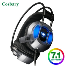 Cosbary USB Wired Game headset with Microphone 7.1 Surround Sound Gaming Headphones Computer for PC PS4 Gamer sades a7 7 1 virtual surround sound gaming headset usb wired luminous headphones with microphone for pc laptop computer gamer