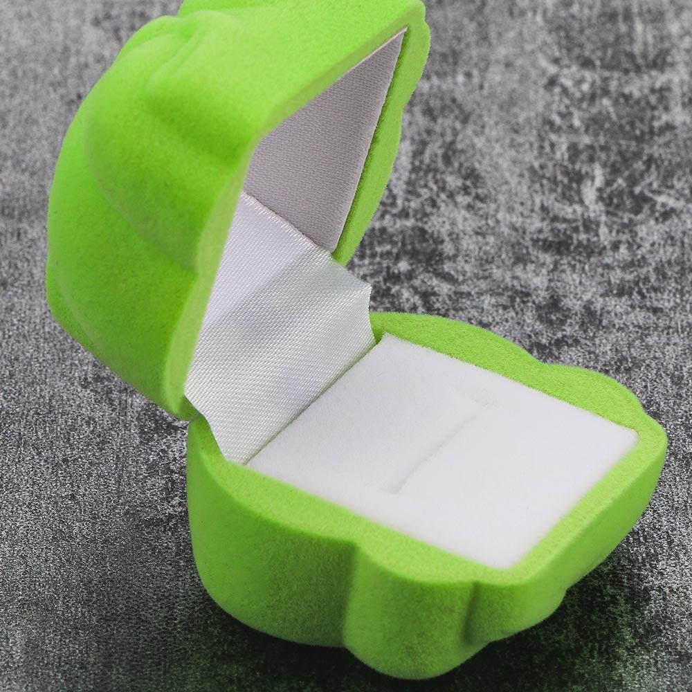 Creative Design Mini Velvet Cartoon Frog Shape Jewelry Box Container Ring Earrings Jewelry Gift Box