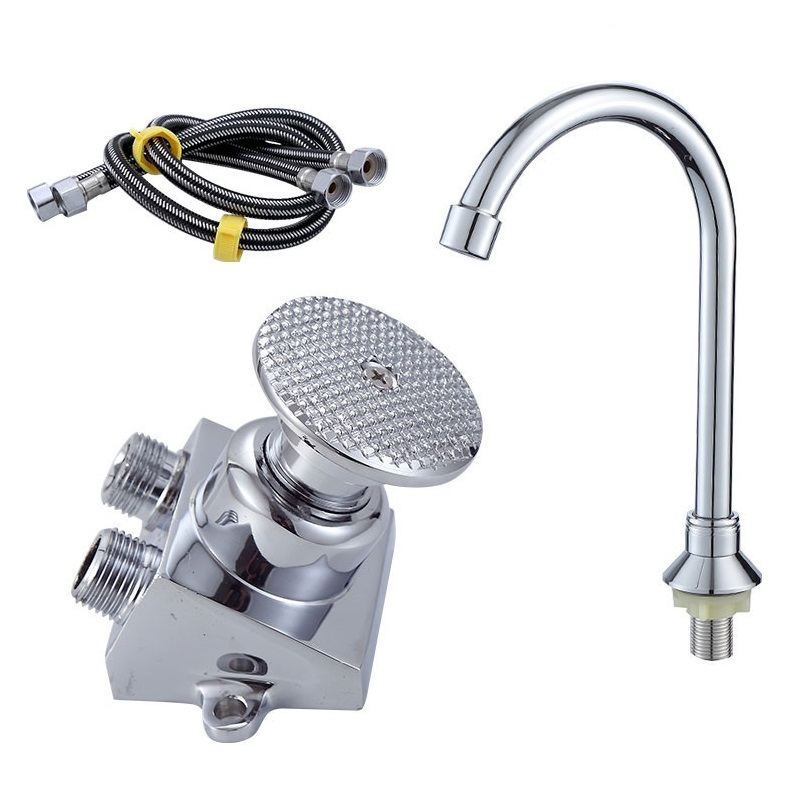 Hands-free Foot Pedal Faucet Pedal Valve Hospital Medical Laboratory Touchless Floor Mount Foot Control Faucet Hot Cold Mixing
