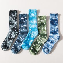 High-Quality Tie Dye Happy Socks Cotton Cosmic Alien Printed HipHop Skate Funny Socks Men