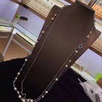 New high quality fashion jewelry pearl crystal long necklace double sweater chain for women's party jewelry