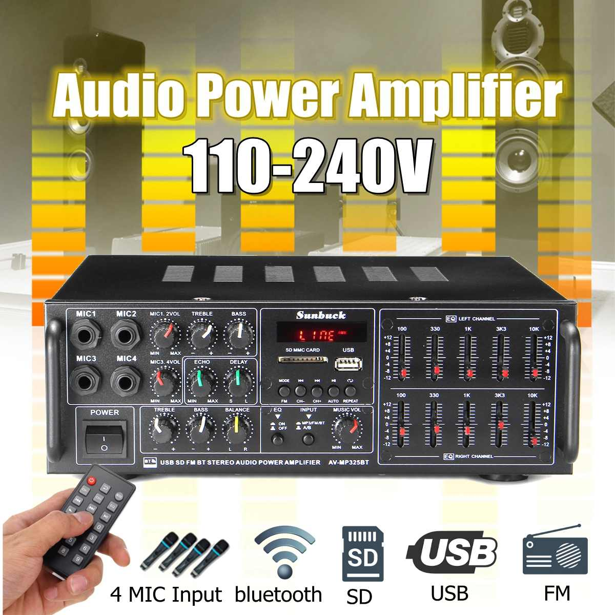 2000W 110V-220V Home Car Bluetooth Power Amplifier With Remote Control HiFi Stereo Digital AMP 2x Mic AUX USB SD Card With EQ