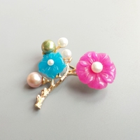 Lii Ji Candy Color Flowers Freshwater Pearl Fashion Flower Brooch Copper Gold Color For Women Jewelry