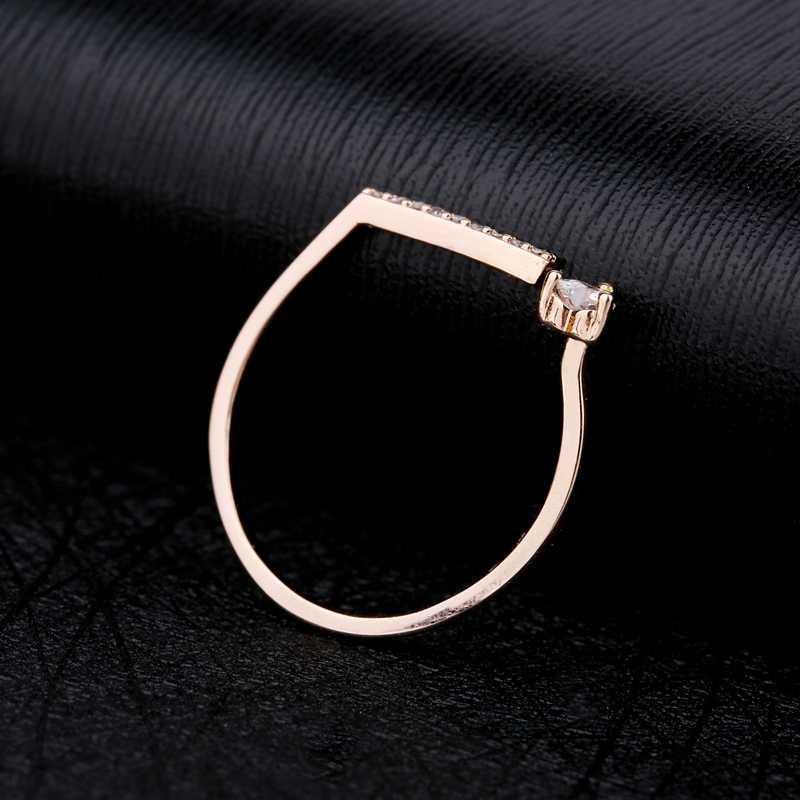 MIGGA ouverture conception cubique Zircon coeur anneau pour les femmes fête cadeau Rose or couleur CZ cristal bijoux