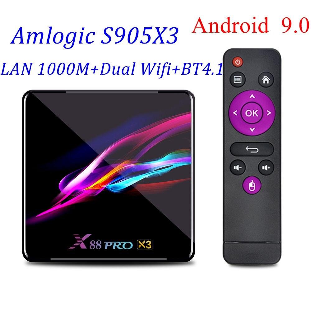 X88 PRO X3 Android 9.0 Smart TV Box 4G 128G Max Amlogic S905X3 Quad Core 8K  HD 2.4G/5G Dual Wifi LAN 1000M Youtube Media Player - Hot Deal #B1D7F