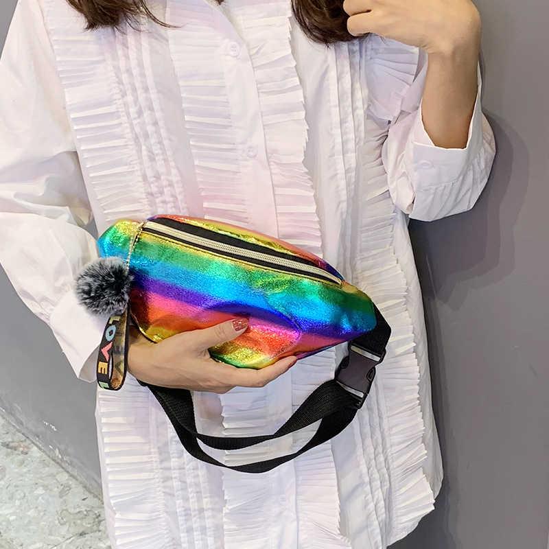 LILEN الموضة بوم بوم حلية معلقة جيوب الليزر الملونة الخريف الشتاء تصميم جديد كول المرأة حقيبة صدر للرجال