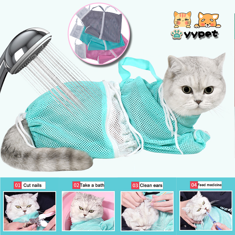 Mash Cat Grooming Bag Polyester Wash Bag Cat Accessories Pet Products Cleaning Supplies Dog Carrier Nail NailS Adjustable Bath