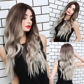 JONRENAU 24 Inches  Long Synthetic Natural Wave Brown Ombre Hair Wigs Heat Resistant Hair Wigs for Black Women 6