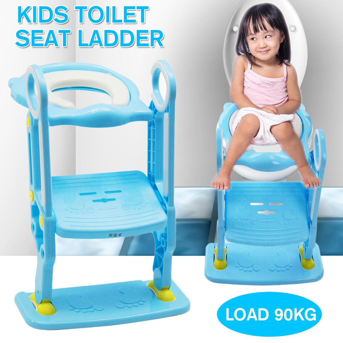 BLUE TOILET POTTY TRAINING STEP LADDER LOO SEAT BABY KIDS//TODDLER//CHILD FUN EASY