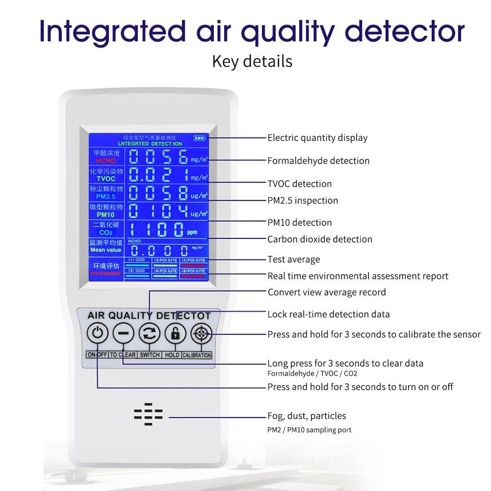 Formaldehit doğru test PM2.5 PM10 CO2 AQI dedektörü ev ofis kapalı ölçme aracı hava kalitesi monitör çok fonksiyonlu