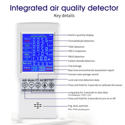 Detector de qualidade do ar multifuncional, formaldeído exata teste pm2.5 pm10 co2 aqi detector doméstico escritório ferramenta de medição monitor de qualidade do ar