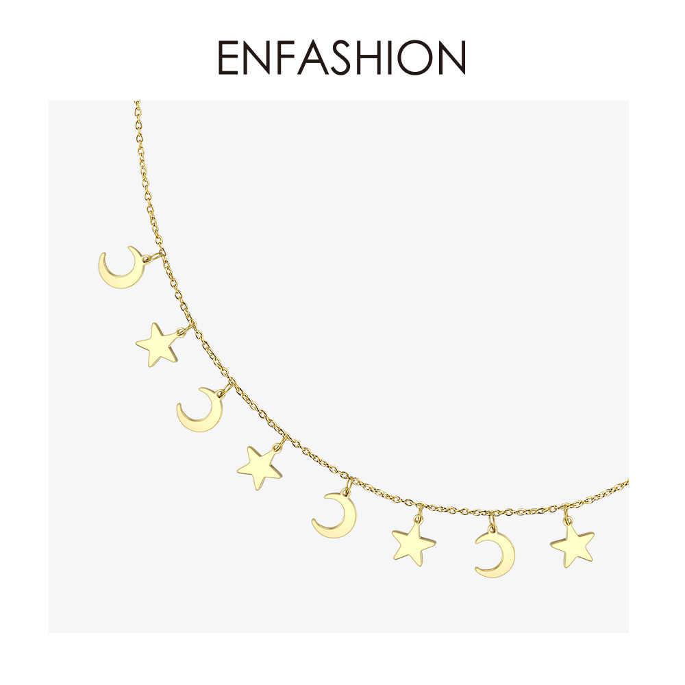 Collier tour de cou étoile & lune ENFASHION femmes en acier inoxydable chaîne pendentifs colliers mode Femme bijoux Collares PM193014