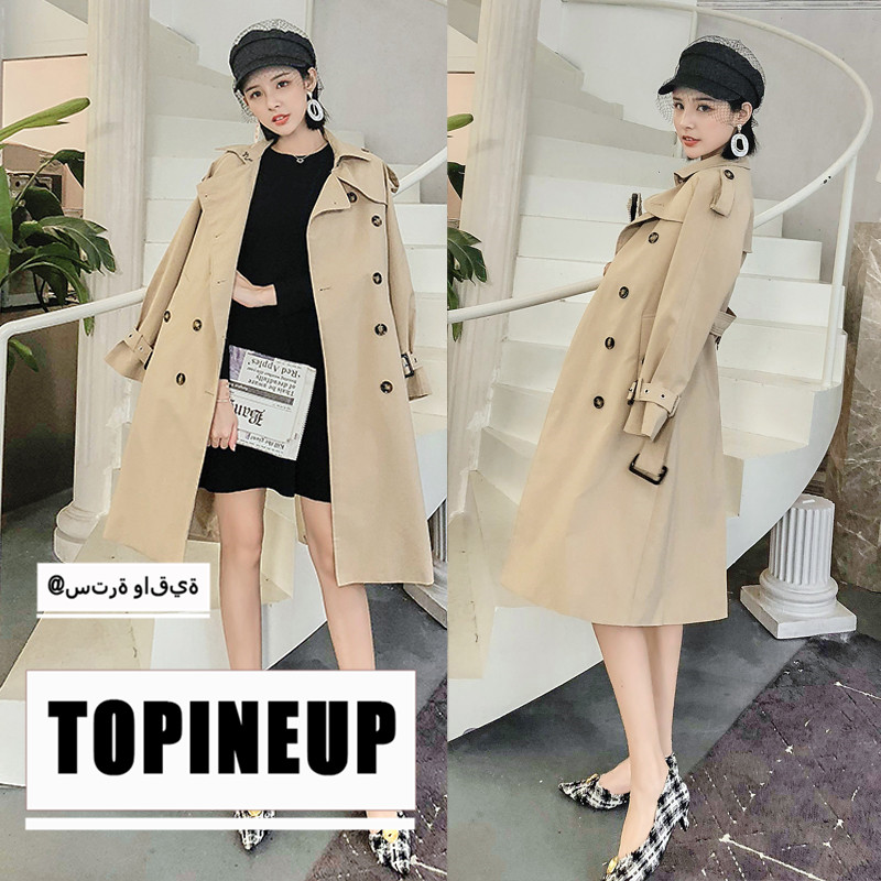 Double-breasted Long Windbreaker Women 2019 Hot Lapel Elegant Solid Color Female Casual   Trench   Coat