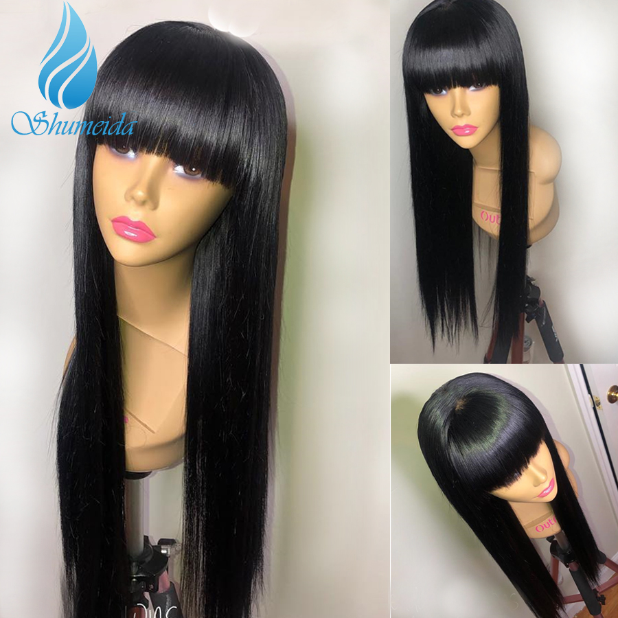 180 Density Long Straight Full Lace Wigs With Baby Hair Brazilian Remy Human Hair Wigs with