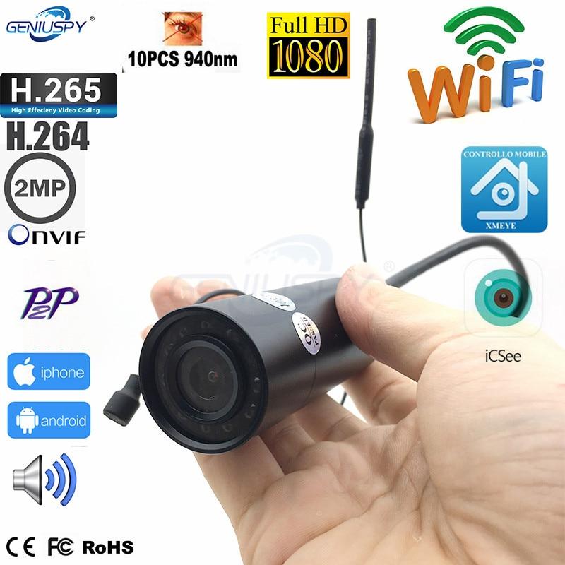 XMEYE H265 Sony IMX307 Special Design Weatherproof 1080P HD P2P Onvif 940nm IR Wifi Wireless IP Network Mini Bullet Camera Audio
