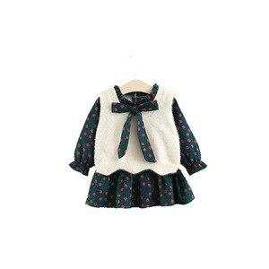 Image 5 - בנות בגדים סטי בגדי ילדי סתיו אופנה סגנון בנות שמלה + סוודר אפוד 2Pcs חליפת תינוק ילדים בגדים עם גדול קשת 0 4Y